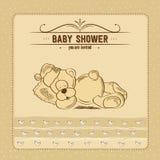 Carta della doccia di bambino con il retro giocattolo illustrazione vettoriale