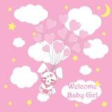 Carta della doccia di bambino con la mosca sveglia del coniglio del bambino con i palloni di amore, il fumetto di vettore, adatti illustrazione vettoriale