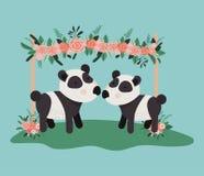 Carta della doccia di bambino con le coppie sveglie del panda degli orsi illustrazione vettoriale
