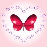Carta della farfalla del cuore Immagini Stock