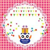 Carta della festa di compleanno con il gufo sveglio Fotografia Stock