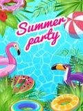 Carta della festa in piscina Mare tropicale dei bambini dell'attrezzatura della salvavita dell'aletta di filatoio della spiaggia  illustrazione vettoriale