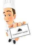 carta della holding del cuoco unico capo 3d Immagini Stock Libere da Diritti