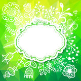 Carta della primavera con il fiore. Vector l'illustrazione, potuto essere usato come cre Fotografia Stock Libera da Diritti