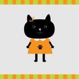 Carta della ragazza del gatto nero del fumetto Fotografia Stock