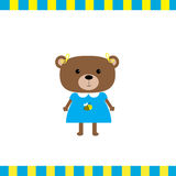 Carta della ragazza dell'orso del fumetto Immagine Stock