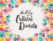 Carta della stampa della mano di giorno di diversità culturale diversa illustrazione di stock