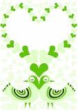 Carta della struttura di giorno di biglietti di S. Valentino di amore degli uccelli Immagini Stock