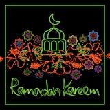 Carta della struttura di Ramadan Kareem dell'ibisco della Malesia illustrazione di stock