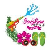 Carta della Tailandia di festival di Songkran con il Flip-flop degli occhiali da sole del fiore della pistola a acqua Fotografia Stock
