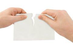 Carta dello strappo delle mani Fotografie Stock Libere da Diritti