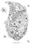 Carta dello zentangl dell'illustrazione di vettore con i fiori royalty illustrazione gratis