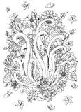 Carta dello zentangl dell'illustrazione di vettore con i fiori Scarabocchii i fiori, la molla, i gioielli, nozze royalty illustrazione gratis