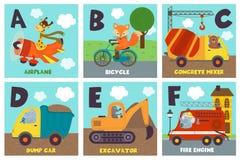 Carta di alfabeto con trasporto e gli animali A - F Immagine Stock Libera da Diritti