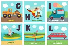 Carta di alfabeto con trasporto e gli animali G - L Fotografia Stock Libera da Diritti