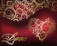 Carta di amore con cuore dorato Fotografie Stock Libere da Diritti