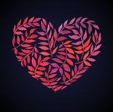 Carta di amore con il mazzo floreale dell'acquerello Illustrazione di vettore di San Valentino con la forma del cuore Fotografia Stock