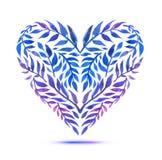Carta di amore con il mazzo floreale dell'acquerello Illustrazione di vettore di San Valentino con la forma del cuore Immagini Stock
