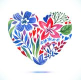 Carta di amore con il mazzo floreale dell'acquerello Illustrazione di vettore di San Valentino con la forma del cuore Immagini Stock Libere da Diritti