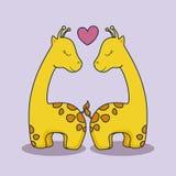 Carta di amore con la giraffa sveglia illustrazione vettoriale