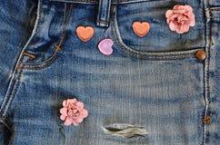 Carta di amore dei jeans della tasca Immagini Stock