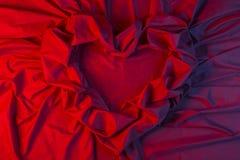 Carta di amore del cuore di tessuto rosso Fotografia Stock Libera da Diritti