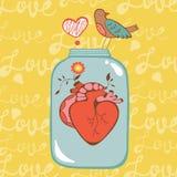 Carta di amore di concetto con cuore in barattolo Fotografia Stock Libera da Diritti
