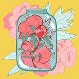 Carta di amore di concetto con i fiori in barattolo Fotografia Stock Libera da Diritti
