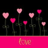 Carta di amore di vettore. Fiori del cuore. Il nero, rosa e g Immagini Stock Libere da Diritti