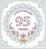 Carta di anniversario 95 anni Immagini Stock Libere da Diritti