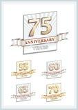 Carta di anniversario 75 anni illustrazione vettoriale