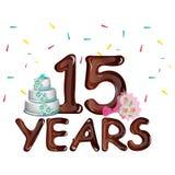 Carta di anniversario 15 anni su un fondo leggero con il dolce illustrazione di stock
