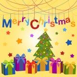 Carta di Buon Natale Cartolina d'auguri di vettore con i regali di Natale ed i giocattoli Immagine Stock