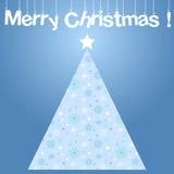 Carta di Buon Natale cartolina d'auguri di vettore con l'albero di Natale Immagine Stock