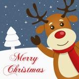 Carta di Buon Natale di Snowy della renna Fotografie Stock Libere da Diritti
