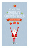 Carta di Buon Natale di vettore e contenitore di regalo di Santa Fotografia Stock Libera da Diritti