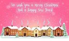 Carta di Buon Natale Illustrazione di vettore Nuovo anno felice Fotografie Stock Libere da Diritti