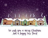 Carta di Buon Natale Illustrazione di vettore Nuovo anno felice Fotografia Stock Libera da Diritti
