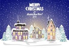 Carta di Buon Natale Illustrazione di vettore Nuovo anno felice Fotografia Stock
