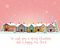 Carta di Buon Natale Illustrazione di vettore Nuovo anno felice Immagine Stock