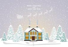 Carta di Buon Natale Illustrazione di vettore Nuovo anno felice Fotografie Stock