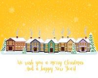 Carta di Buon Natale Illustrazione di vettore Nuovo anno felice Immagini Stock