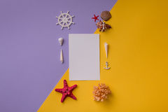 Carta di carta sistemata con le conchiglie Fotografie Stock