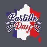 Carta di celebrazione di giorno di Bastille con la mappa royalty illustrazione gratis