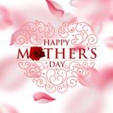 Carta di celebrazione di giorno di madri Giorno di madri felice del cuore di rosa illustrazione di stock