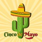 Carta di celebrazione per Cinco de Mayo Festa nel Messico Vettore illustrazione di stock