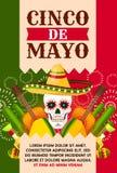 Carta di Cinco de Mayo del messicano con il cranio in sombrero illustrazione di stock
