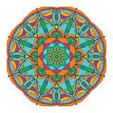 Carta di colore dell'ornamento con la mandala Elementi decorativi dell'annata Background3 disegnato a mano Fotografia Stock