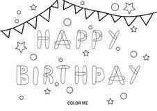 Carta di coloritura di buon compleanno di vettore Immagine Stock Libera da Diritti