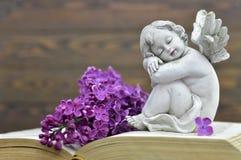 Carta di condoglianza con il fiore della molla e di angelo custode fotografia stock libera da diritti